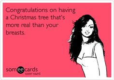 Congratulations on having a Christmas tree that's more real than your breasts.
