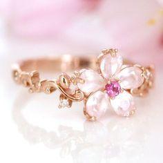10K pink gold 0.01ct diamond ring custom order cherry blossom SAKURA Japan in Jewelry & Watches, Fashion Jewelry, Rings | eBay