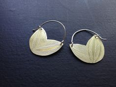 brass Petal Earrings with Sterling silver posts