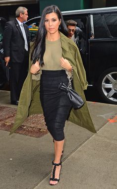 Kourtney Kardashian from The Big Picture: Today's Hot Pics  Leaving the Today Show, the Kardashian star steps out looking gorgeous in an olive green outfit.