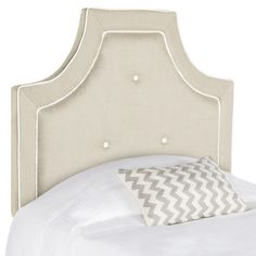 A classic traditional look, this dramatic OYSTER twin headboard with notched corners imbues a bedroom with high-end designer style. Richly upholstered in a blended texture, this striking headboard boasts white covered buttons and a double row of piping.