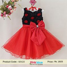 Beautiful Black and Red Party Dress for Kids - Baby Net Wedding Dress, Princess Birthday Dress, Kids Fashion, Children Summer Clothing, Baby Casual Outfits, Baby Outfits With Big Bow