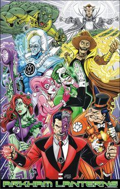 Arkham Lanterns - Two-Face Red Lantern, Poison Ivy Indigo Tribe, Penguin Orange Lantern, Harley Quinn Star Sapphire, Joker Green Lantern, Mr. Freeze Blue Lantern, Scarecrow Sinestro Corp, Killer Croc Black Lantern and Ra's Al Ghul White Lantern.