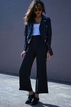 Biker Jacket + Basic Tee + High Waist Pinstripe Crop Flared Trousers + Oxford Shoes