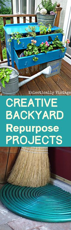 Creative Backyard Repurpose Projects - love the garden hose rug!