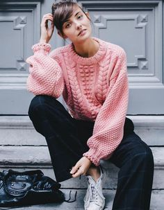 Chunky pink sweater