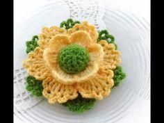Te encantarán !!! estas lindas flores tejidas a crochet en diferentes colores con hojitas - YouTube