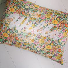 Personalised Children's cushion made with lovely Liberty print fabric!