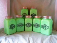 Vintage McKee Jadeite Green Large Box Range Set