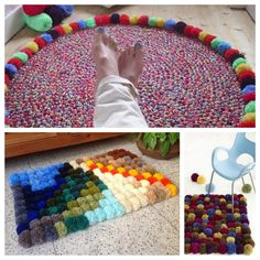 diy tuto tapis de pompons en laine blog inspiration. Black Bedroom Furniture Sets. Home Design Ideas