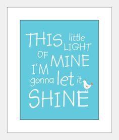 Nursery Art Poster This Little Light of Mine 8 X 10 Print and Mat  Baby Christian Art for Kids. $20.00, via Etsy.