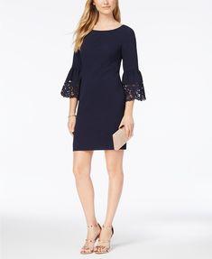 Image 1 of Jessica Howard Lasercut Bell-Sleeve Dress, Regular & Petite Sizes Stylish Plus, Lace Sheath Dress, Review Dresses, Bell Sleeve Dress, Navy Women, Dresses For Work, Formal Dresses, Petite Sizes, Victorian Dresses