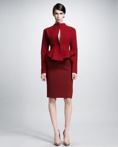 Jacket With Hook-And-Eye Closure & Pencil Skirt With Side Zip - Neiman Marcus