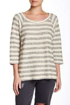 Textured Stripe Raglan Sleeve Tee
