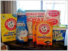 Making a 2nd batch! Great Detergent! 1 (4 lb 12 oz) box Borax – $3.39 1 (3 lb 7 oz) box Arm & Hammer Super Washing Soda – $3.24 1 (3 lb) container OxyClean – $7.59 2 (14.1 oz) bars Zote Soap or Fels Naptha – $0.97 each 1 (4 lb) box Arm & Hammer Baking Soda (my pictures shows 2, 2 lb boxes) – $2.50 1 (55 oz) bottle Purex Crystals Fabric Softener (optional) – $4.79