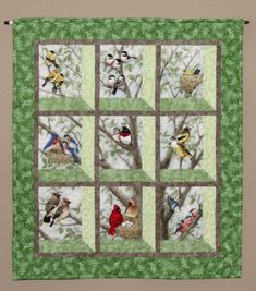 Quilted and Pieced Wall Hanging, Attic Window, Birds in Tree from MiniMade on Etsy.
