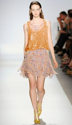 Floral print short dress with glittery sequined tank top ,    i like it 4 summer evening beach party |   Rebecca Taylor Spring Summer 2012
