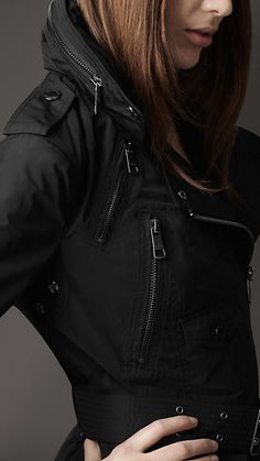 Burberry - BIKER TRENCH COAT WITH CONCEALED HOOD