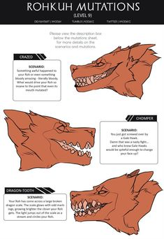 Mutations Sheet (Level by SirKoday Creature Drawings, Animal Drawings, Art Drawings, Wolf Drawings, Mythical Creatures Art, Fantasy Creatures, Creature Concept Art, Creature Design, Art Reference Poses