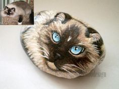 "Custom Made Cat-""Harry"" Hand painted stone 