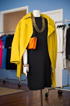 color pop business casual - navy with mustard & orange