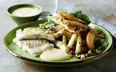 Torsk med sennepdressing og æblesalat