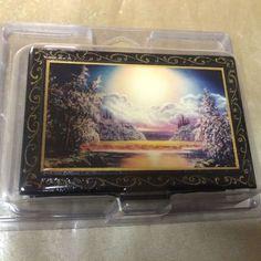 "Russian laquer box Beautiful Scenery black 3.5"" x 2.5"" x 1.5"" approx size 1/1"