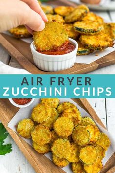 Make amazing Air Fryer Zucchini Chips for your family with this simple recipe! A crunchy coating of panko breadcrumbs and parmesan cheese make these healthier fried zucchini chips poppable and irresistible. No air fryer? You'll also find alternative cooking methods in the post. Fried Zucchini Chips, Fried Zucchini Recipes, Zucchini Side Dishes, Zucchini Chips Recipe, Veggie Dishes, Vegetable Recipes, Eggplant Chips, Chips Calories, Air Fried Food