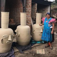 took this photo whilst visiting a pottery in Mexico earlier this year the gigantic face pots are incredible! Ceramic Tableware, Ceramic Clay, Ceramic Pottery, Pottery Art, Mexican Ceramics, Ceramic Design, Art Object, Clay Art, Art Studios