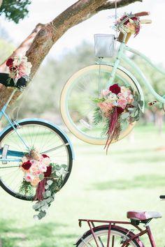 bicycle wedding backdrop - Deer Pearl Flowers / http://www.deerpearlflowers.com/wedding-ceremony-decor/bicycle-wedding-backdrop/
