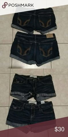 2 pairs of Hollister shorts Firm!!! Sale tonight only 2 pairs of Hollister shorts size 3 or 26. Waist flat is 15 inches rise is 5 inches and inseam is 3 inches. Great deal for 2 pairs Hollister Shorts Jean Shorts