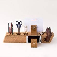 large wood desk organizer by less & more