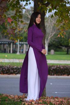 Purple & White Vietnam AO DAI CUSTOM MADE, Silk Dress & Satin Pant, Best Price in Clothing, Shoes & Accessories, Women's Clothing, Dresses | eBay