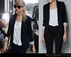 Love Taylor Swift's fashion but not so much her music.  Simple ensemble with blazer