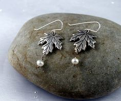 Sterling silver Maple Leaf earrings. Made in by nataliasjewellery