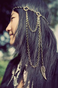 Chain headdress with Silver Wings    Chain headband by ayapapaya, $45.00