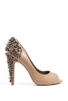 $243.38 Nude Lorissa Peeptoe Court Shoe with Studded Heel by Sam Ede