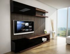 Centro De Entretenimiento Sobre Diseño Contemporaneo Tv Cabinet Design, Tv Wall Design, Tv Unit Design, Living Room Tv, Living Room Modern, Tv Wanddekor, Tv Unit Furniture, Modern Tv Wall Units, Muebles Living