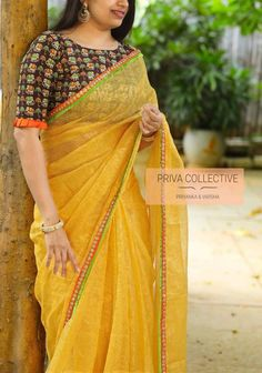 Indian marriage ceremony Excited to share the most recent addition to my store: Yellow colore Trendy Sarees, Fancy Sarees, Party Wear Sarees, Saree Blouse Neck Designs, Fancy Blouse Designs, Sari Design, Stylish Blouse Design, Designer Blouse Patterns, Indian Sarees