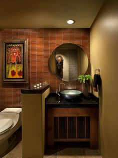Powder Room African Safari Decor Design, Pictures, Remodel, Decor and Ideas