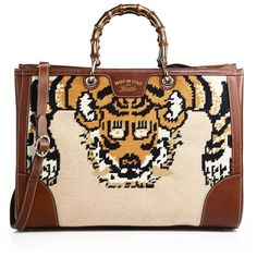 0bfe26325cf Gucci Bamboo Embroidered Tote with Tiger  amp  Bee ( 3