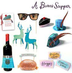 A burns night supper printable paper craft set