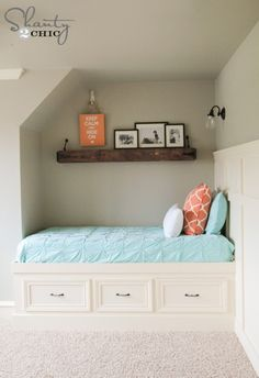 Do you have a cozy wall space begging for a built-in bed?  If so, Shanty2Chic.com has your plans...right here. Cute, huh? | thisoldhouse.com