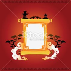 Traditional Japanese paper scroll Royalty Free Stock Vector Art Illustration