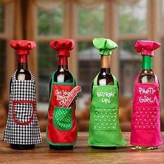 Wine Bottle Apron Chef Set, Christmas Party Wine Decor, Wine Gift Giving Idea in Casa e jardim, Decoração de Natal e outras ocasiões, Natal e festas de fim de ano | eBay