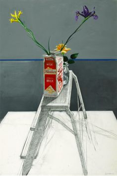 Paul Wonner (American, 1920-2008), Irises in Milk Carton on a Step Ladder. Acrylic, tempera and pencil on paper, 44 x 29 ½ in.