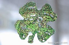 Glitter Shamrock Sun-catchers ~ Easy Technique for Toddlers