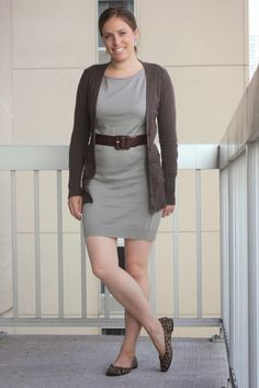 gray sweater dress, brown cardigan and leopard flats - summer at work - www.fashionablyemployed.com