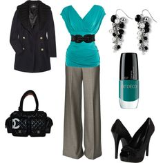 black & teal office look if I could wear heels this would be my kinda outfit.
