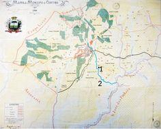 """1906 - Mapa de Curitiba.Acervo: Instituto de Pesquisa e Planejamento de Curitiba - IPPUC.O mapa de 1906 mostra as colônias de imigrantes de Curitiba. Na região do Guabirotuba (inserida no """"Campo do Uberaba"""") não há colônias. O desenho apresenta a localização aproximada do Matadouro Municipal (1) e o leito do Rio Belém (2)."""